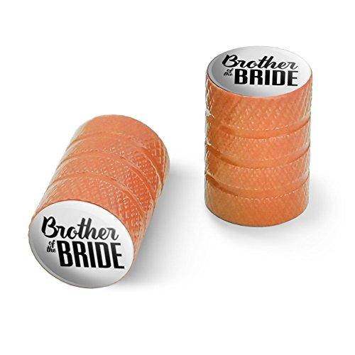 オートバイ自転車バイクタイヤリムホイールアルミバルブステムキャップ - オレンジ花嫁の結婚式の兄弟