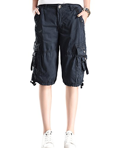 (HOW'ON Women's Casual Cotton Multi Pockets Loose Fit Ripstop Bermuda Cargo Shorts Dark Blue XL)