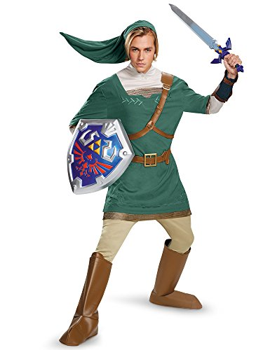 Disguise Men's Legend Of Zelda Link Prestige Costume, Green, Medium -
