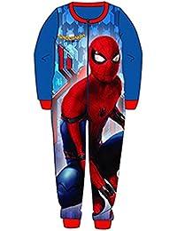Boys Spiderman All in One Piece Fleece Character Pyjamas