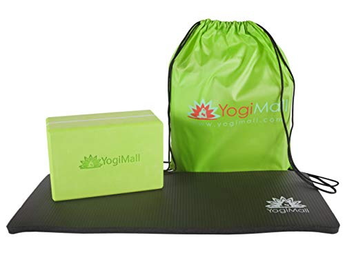 (YogiMall Yoga Knee Pad Cushion, Yoga Block and Carry Bag Set for Pain Free Yoga - Protect Knees, Deepen Your Poses & Improve Balance for Mom, Yoga Lovers, Anyone who has Sensitive Knees.)