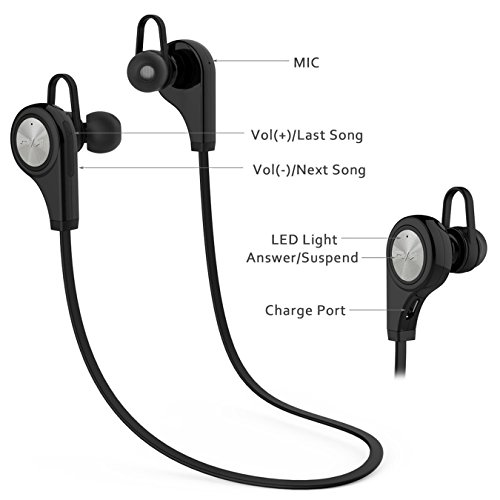 Sports Headphones, Bluetooth 4.1 Earbuds wireless Stereo Earphones Headset for running Jogging gym ( Sweat proof ) with mic for iPhone iPad Samsung