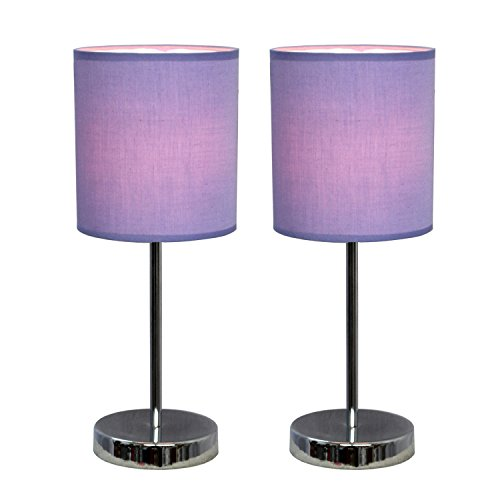 Simple Designs LT2007-PRP-2PK Chrome Mini Basic Table Lamp 2 Pack Set with Fabric Shades, Purple