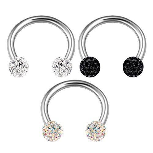3PCS Stainless Steel Horseshoe Hoop 16 gauge 5/16 8mm 3mm Clear Crystal Snake Bite Nose Earrings Tragus Piercing Jewelry 2300 (2300 Spider)