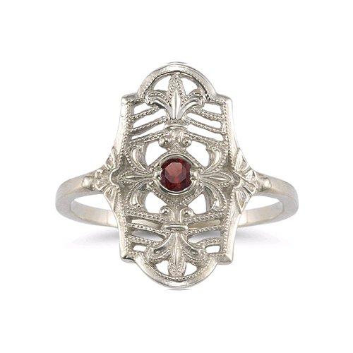 Vintage Fleur-de-Lis Garnet Ring in .925 Sterling ()