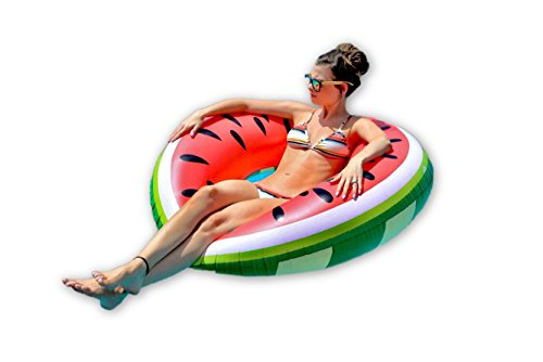Top Rated Treasures Giant Watermelon Pool Float  Inflatable Intertube Floatie Raft For Floating For Adults   Kids