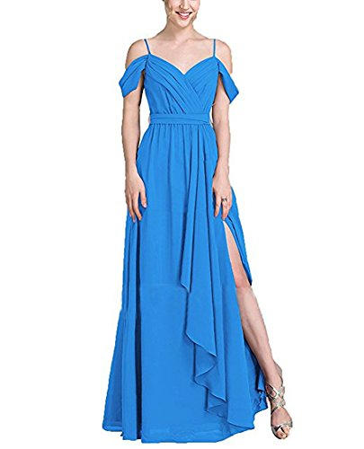 Blue Dresses Line Long The Shoulder Bridesmaid Off Chiffon BOwith Women's with Ruffled c1wqpxCPq