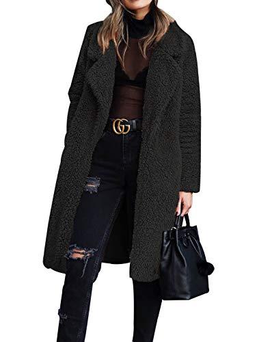 Gzbinz Women Fuzzy Fleece Coat Open Front Cardigan Lapel Long Coat Outwear Winter Warm Jacket with Pockets Black M