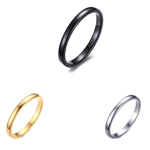 Womens 2mm Tungsten Carbide Ring Simple Style Cute Thin Wedding Engagement Promise Band Black Size (Art Deco Wedding Band Platinum)