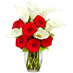 Flower Delivery - Red Rose & Calla Lily Bouquet - for Valentine's Day Premium (FREE Vase Included)