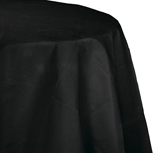 Club Pack of 12 Jet Black Disposable Tissue/Poly Octy-Round Picnic Party Table Covers 82
