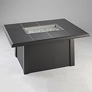 "Outdoor Greatroom Napa Fire Pit Table, Natural Gas or Propane, Black Granite or Brown Porcelain Top, 48"" x 36"" (Black Granite Top)"