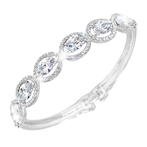 EVER-FAITH-Wedding-Silver-Tone-Leaf-Bracelet-Clear-Zircon-Austrian-Crystal