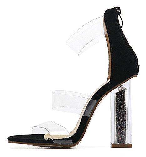 Bride Mode Cheville Aisun Noir Ouvert Femme Sandales Bout Transparent p1pvAqX