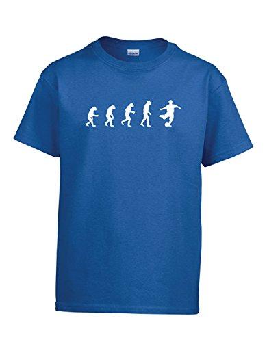 ShirtLoco Boys Evolution Of Man To Soccer Player Youth T-Shirt, Royal Blue Medium