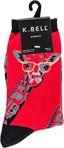 K. Bell Women's Playful Animals Novelty Casual Crew Socks, Giraffe (Red), Shoe Size: -