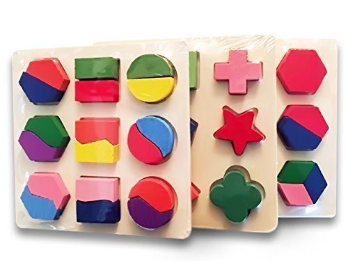 Wooden Puzzles Set Of 3. Best Geometric Puzzles For Kids, Learn Math & Shapes The Fun Way! Perfect Children puzzles, Super Durable,