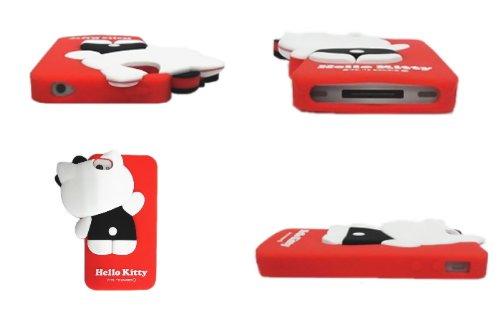 Hello Kitty Apple iPhone 4(4S) Silikon Fall–3D Peeping weiß