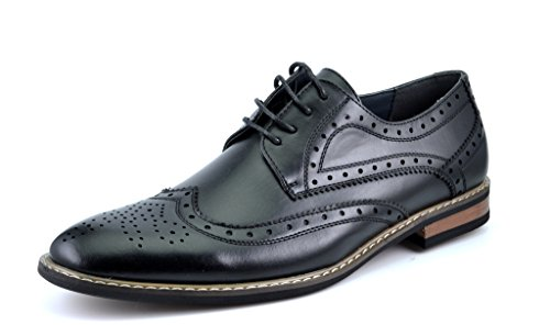 Bruno HOMME MODA ITALY PRINCE Men's Classic Modern Oxford Wingtip Lace Dress Shoes,PRINCE-3-BLACK,9 D(M) US