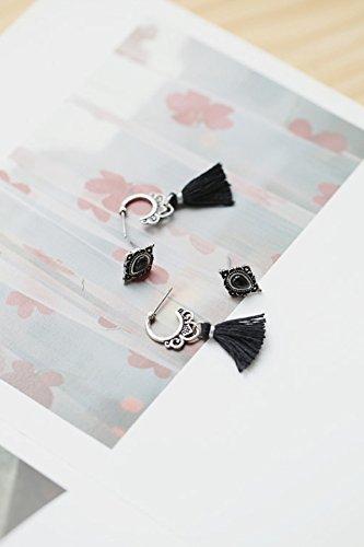 Generic S925 Thai silver tassels long section of the asymmetric black onyx earrings Korean stylish by Generic