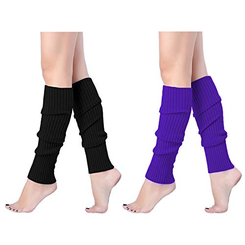 V28 Women Juniors 80s Eighty's Ribbed Leg Warmers for Party Sports, 2(Black+Pur)