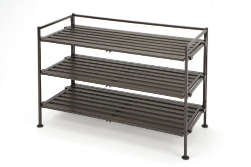 Seville Classics 3-Tier Stackable 9-Pair Woodgrain Resin Slat Shelf Sturdy Metal Frame Shoe Storage Rack Organizer, Perfect for Bedroom, Closet, Entryway, Dorm Room, Espresso