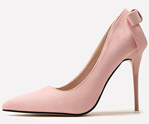 BIGTREE Wedding Shoes For Women Suede High Heels Sweet Bowknot Stiletto Party Court Shoes by Pink cIflJrPzG9