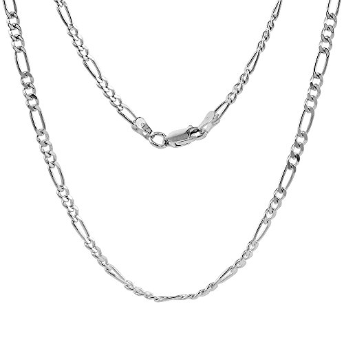 NYC Sterling Unisex 3MM Flat Light Solid Sterling Silver Figaro Chain Necklace, Made in Italy. (24 Inch)
