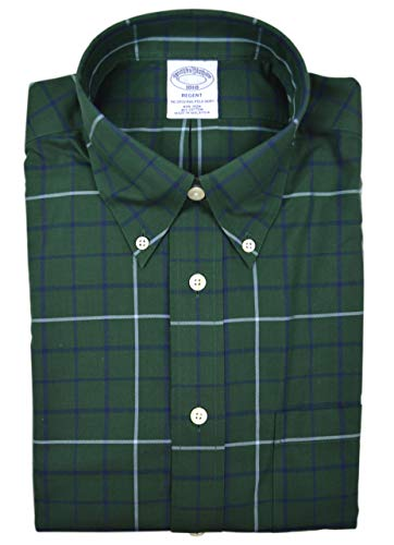 Brooks Brothers Mens Regent Fit All Cotton The Original Polo Flannel Button Down Shirt Dark Green Big Plaid (M) (Dress Brooks Button Brothers Shirt Down)