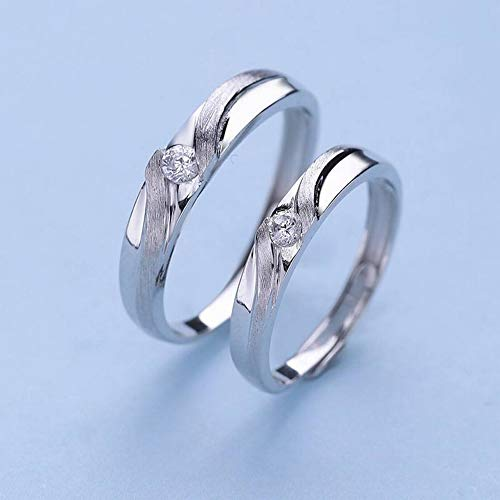 SHOUSHI Fashion Ol 925 Silver S925 Sterling Silver Love Songs Couple Rings Fashion Joker Rings, White ()