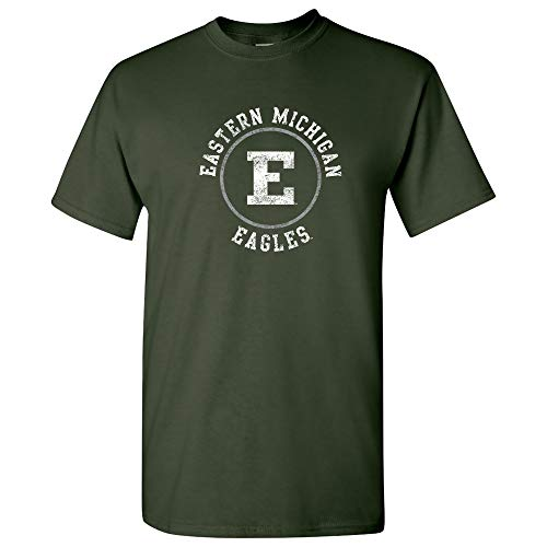 (AS04 - Eastern Michigan Eagles Distressed Circle Logo T-Shirt - Large - Forest)