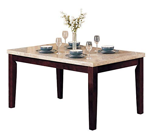 Top Server Stone - ACME Britney Walnut Dining Table with White Marble Top