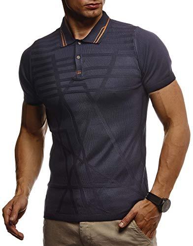 Leif Nelson Herren Sommer T-Shirt Polo Kragen Poloshirt Slim Fit aus Feinstrick Cooles weißes schwarzes Basic Männer Polo-Shirts Jungen Kurzarmshirt Kurzarm Sleeve Shirt Top LN7305