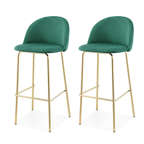 MEELANO 62-GD-GRN Counter Height Stools Forest Green