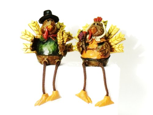 Set of 2 Thanksgiving Turkey Pilgrim Shelf Sitters