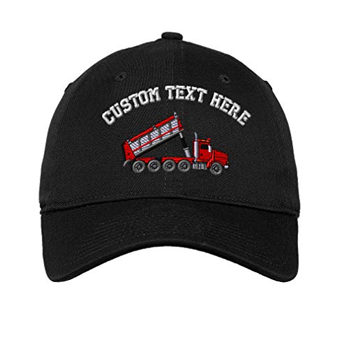 Custom 4 Axle Dump Truck Embroidery Design Unisex Adult Flat Solid Buckle Cotton 6 Panel Unstructured Baseball Hat Adjustable Cap - Black, One Size