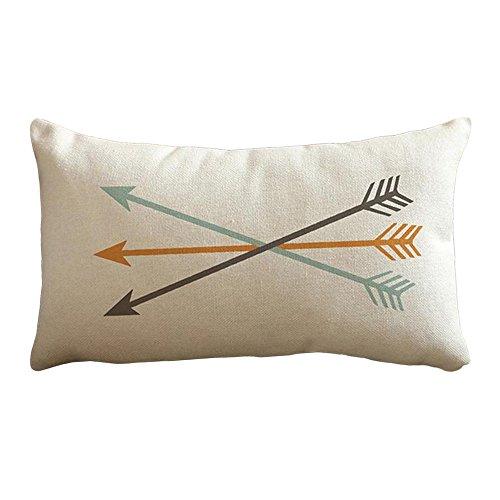 Trenton Retro Arrows Print Linen Rectangle Pillow Case Sofa Throw Cushion Cover Pillowcase Home - Retro Arrow