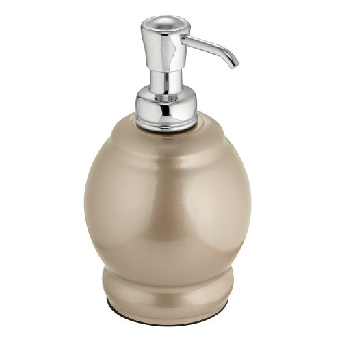 InterDesign York Metal Short Soap and Lotion Dispenser Pump, for Kitchen or Bathroom - Pearl Champagne/Chrome