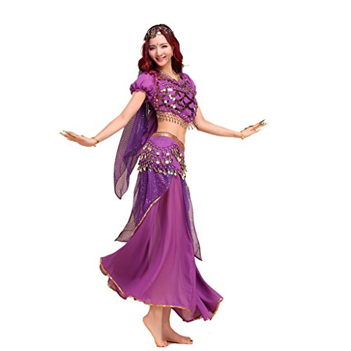 Pilot-trade lady's Belly Dance Costume Indian Dance Shiny Bells Top Highlights Skirt (Ladies Belly Dance Costumes)