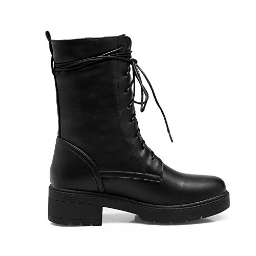 Urethane Heel Novelty Bootie AN Urethane Womens Closed Boots DKU01914 Adjustable Lace Up Weather amp;N Boots Black Toe Solid Low A Strap All q6PwU