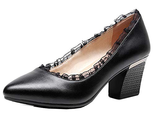 EU NoirPU 39 Talon Femme Dentelle Moyen Easemax Original Pointue Chaussure Escarpins qw8vngZHx
