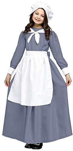 Colonial Pilgrim Girl Kids Costume,Gray / White,medium - Peasant Costume Child