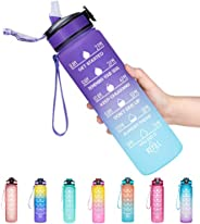 Giotto 32oz Leakproof BPA Free Drinking Water Bottle with Time Marker & Straw to Ensure You Drink Enough W
