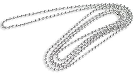 Stainless Steel Dog Tag Bead Chain Necklace 2.3MM 38