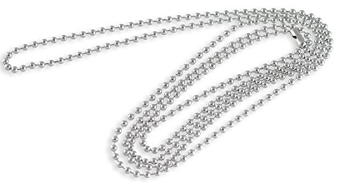 (Forge Stainless Steel Dog Tag Bead Chain Necklace 2.3MM 38
