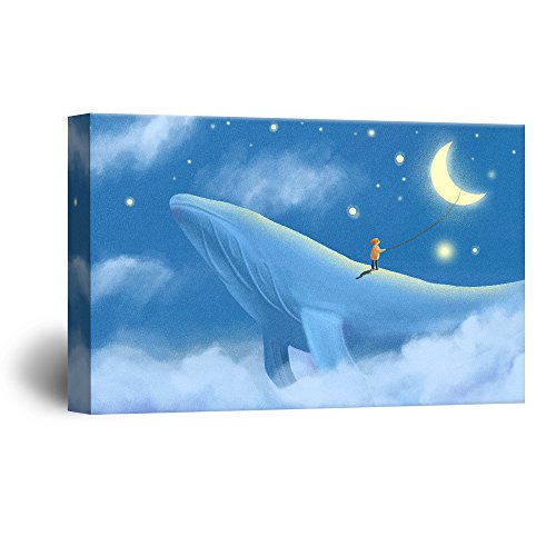 Hand Drawing Style Mystical Boy Reaching for The Moon on a Blue Whale
