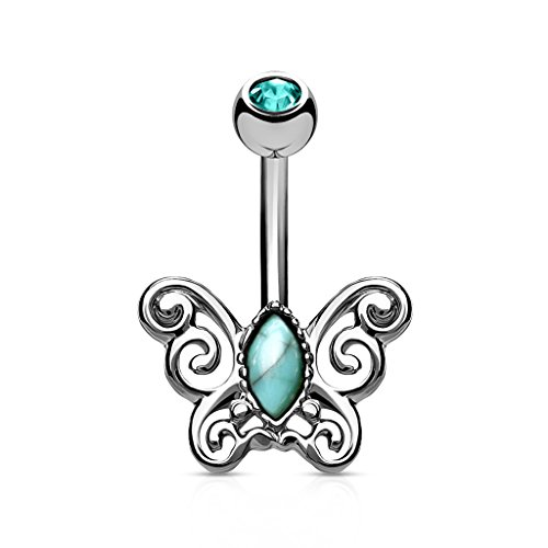 MoBody 14G Turquoise Centered Filigree Butterfly Belly Button Ring Surgical Steel Navel Body Piercing Jewelry (Silver-Tone) ()