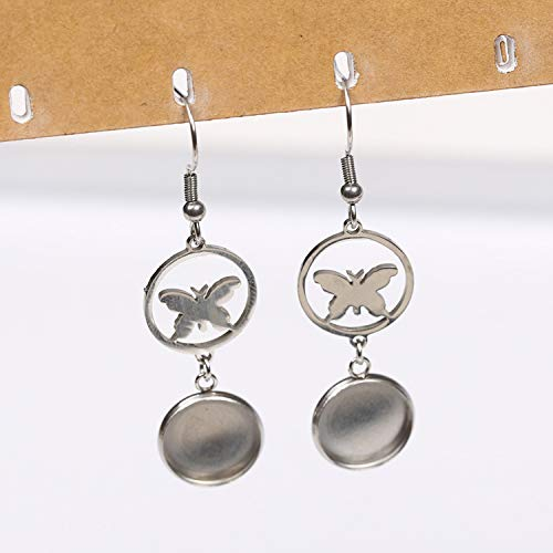 Stainless Steel Butterfly Earring Bezel findings fit 12mm cabochon Earrings Base Settings DIY Hooks findings ()