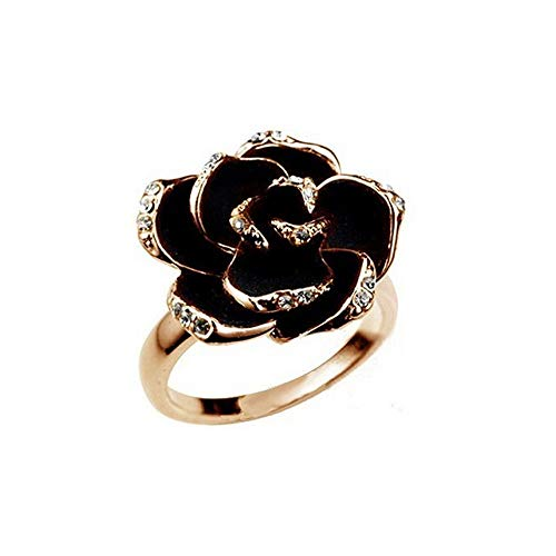 Black Rose Ring Decorative Silver Jewelry Gift for Ladies Girls Retro Elegant Finger Flower Jewelry Flower Opening Promise Engagement - Ring Rose Spoon