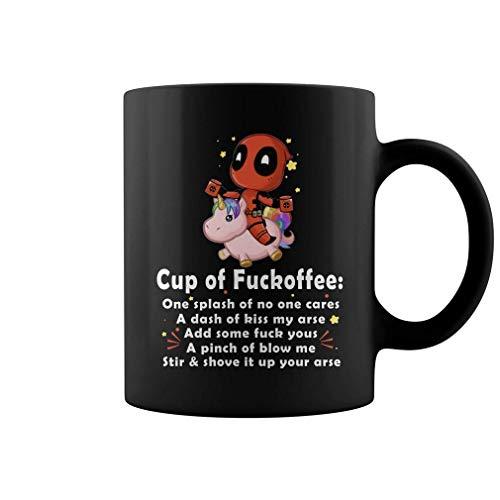 Deadpool & Unicorn Fckoffee Black 11OZ Mug Ceramic Coffee/Tea/Cocoa Mug Great Office & Home Coffee Mug Gift For Friend Son Daughter Birthday Souvenirs Perfect Gift by King Of Mug.